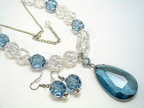 BLUE ICE BEAD NECKLACE SET