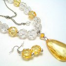 YELLOW ICE BEAD NECKLACE SET
