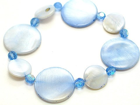 LIGHT SEA BLUE SHELL CIRCLE DISK BRACELET