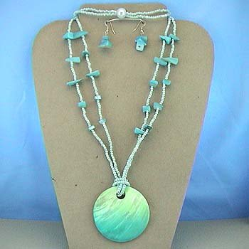 LONG CHUNKY BLUE AQUA TURQUOISE SHELL SEED BEAD NECKLACE SET