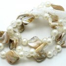 WHITE CREAM CREME NATURAL MULTI STRAND SHELL FAUX PEARL BEAD RIBBON BRACELET
