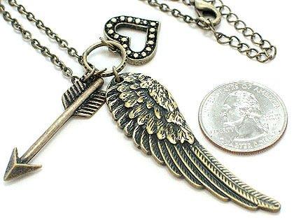 VINTAGE LOOK  ANGEL WING HEART ARROW PENDANT DOUBLE CHAIN NECKLACE