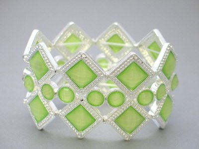 FASHION LIME LIGHT GREEN DIAMOND SHAPE CRYSTAL CIRCLE BANGLE BRACELET