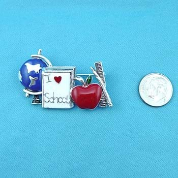 TEACHER I LOVE SCHOOL APPLE WORLD PENCIL BROOCH PIN