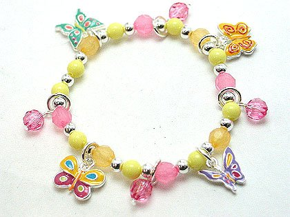 KIDS CHILDRENS BUTTERFLY BUTTERFLIES BEAD BRACELET