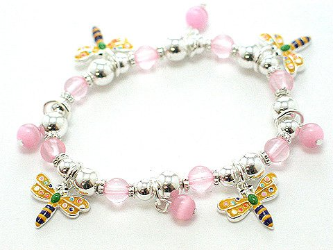 KIDS CHILDRENS DRAGONFLY DRAGON FLIES FLY BEAD BRACELET