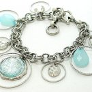 ANTIQUE STYLE BLUE CIRCLE TEAR DROP BRACELET
