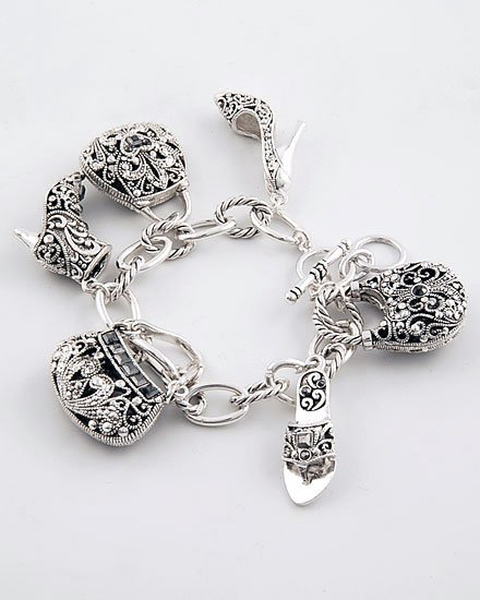 HOT 3D  MARCASITE SHOES HANDBAG CRYSTAL BRACELET