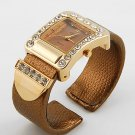 BROWN METALLIC  BELT BUCKLE CRYSTAL WATCH