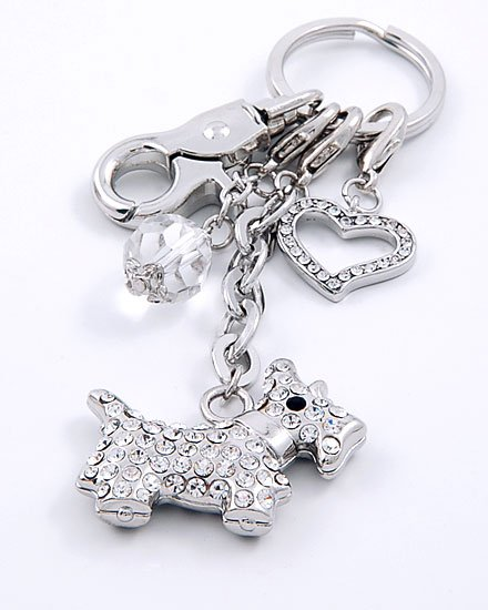3D SCOTTISH TERRIER DOG LOVER TRAINER CRYSTAL KEYCHAIN
