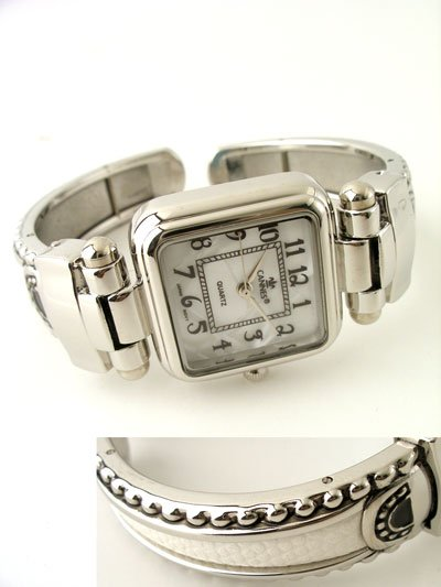 WHITE LEATHER STYLE MOTHER OF PEARL FACE BANGLE WATCH
