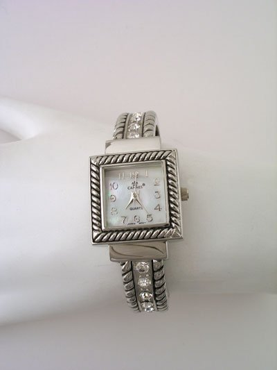 SILVER TONE CRYSTAL MOTHER OF PEARL FACE TEXTURED WATCH