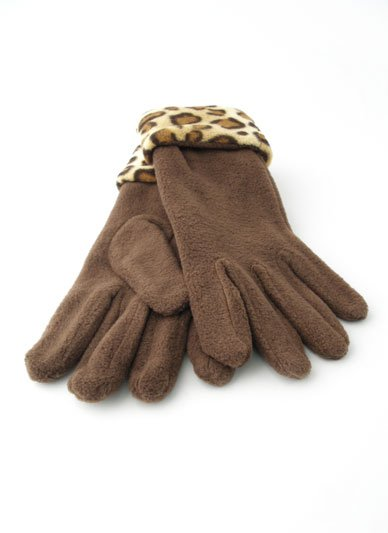 ONE SIZE BROWN LEOPARD CHEETAH HAND ANIMAL PRINT LADIES GLOVES