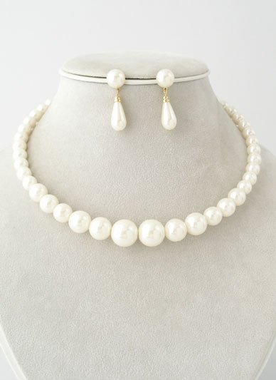 CREAM OFF WHITE FAUX PEARL GRADUATED CHOKER NECKLACE SET