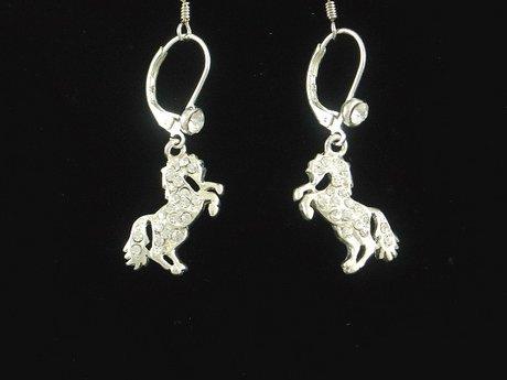 WESTERN COWGIRL AUSTRIAN CRYSTAL HORSE RODEO EARRINGS