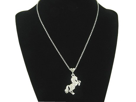 WESTERN COWGIRL AUSTRIAN CRYSTAL HORSE NECKLACE