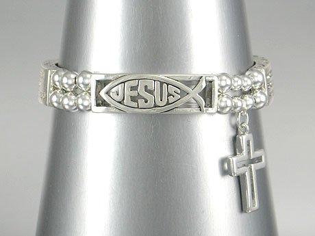 NEW RELIGIOUS JOHN 3:16 WHOEVER BELIEVES IN HIM JESUS CROSS BRACELET