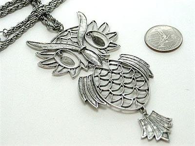 NEW SILVER TONE ANTIQUE STYLE LARGE OWL BIRD NECKLACE