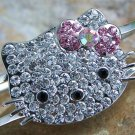 PINK HELLO KITTY KITTEN CAT CRYSTAL BANGLE BRACELET