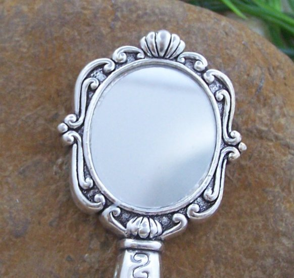 Fairy Tale Mirror Silver Tone Handbag Purse Hook Caddy Holder