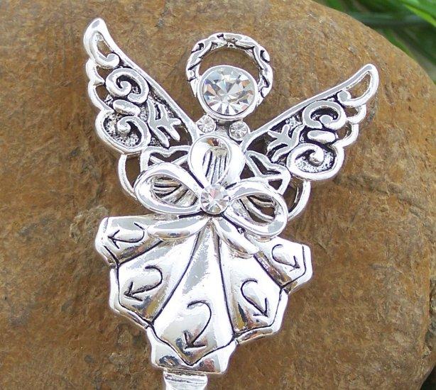 Clear Crystal Guardian Angel Silver Tone Handbag Purse Hook Caddy Holder