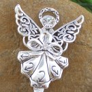 Clear Crystal Guardian Angel Silver Tone Handbag Purse Hook Caddy Holder