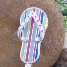 Stripe Multicolor Flip Flop Beach Summer Handbag Purse Hook Caddy Holder