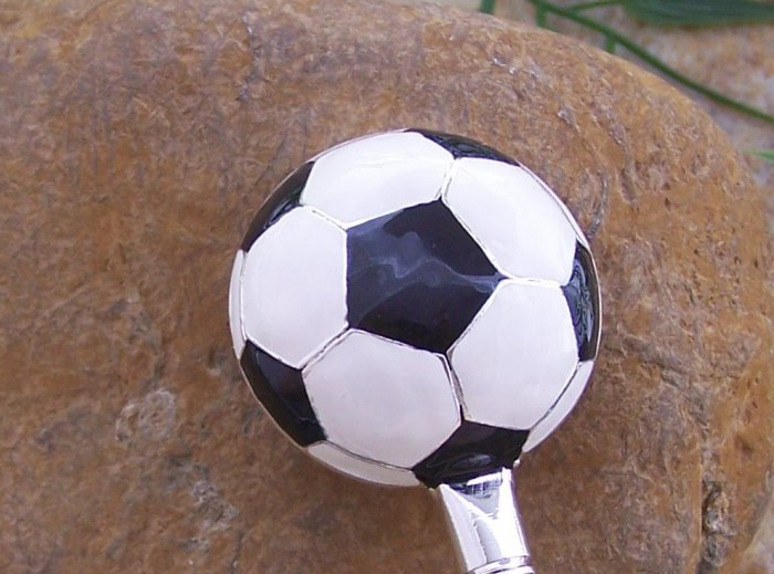 Soccer Ball Soccerball Silver Tone Handbag Purse Hook Caddy Holder