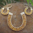 NEW WESTERN GOLD EP CRYSTAL HORSESHOE PENDANT SET