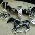 NEW BLACK WESTERN HORSE PONY NECKLACE PENDANT SET