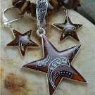 NEW BROWN WESTERN RODEO STAR NECKLACE PENDANT SET