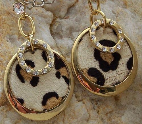 NEW JUNGLE TIGER LEOPARD CRYSTAL ANIMAL PRINT EARRINGS
