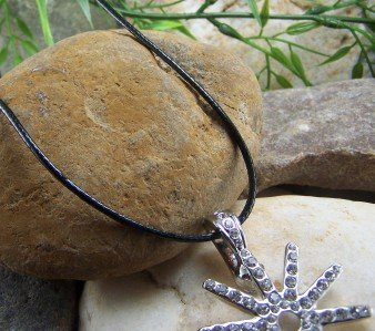 NEW BLACK GENUINE LEATHER PENDANT NECKLACE