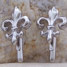 NEW POLISHED SILVER TONE FRENCH FLEUR DE LIS CUFF LINKS