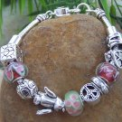 NEW EUROPEAN STYLE PEACE HEART LOVE DOVE CHARM BRACELET
