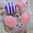 NEW KIDS GIRLS PINK BUTTERFLY NECKLACE BRACELET SET