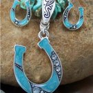 NEW BLUE WESTERN HORSESHOE NECKLACE PENDANT SET