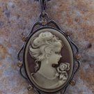 NEW BROWN ANTIQUE LOOK LADY CAMEO CRYSTAL NECKLACE