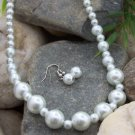 SINGLE STRAND FAUX WHITE GLASS FAUX PEARL NECKLACE SET