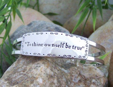 NEW TO THINE OWNSELF BE TRUE HINGE BANGLE BRACELET