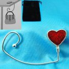 SPARKLING GLITTER HEART LOVE PURSE HOOK HANDBAG HOLDER