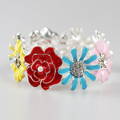 CHUNKY RED BLUE PINK YELLOW FLOWER BANGLE BRACELET