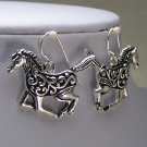 Western Cowgirl Horse Horses Mustang Pony Filigree Textured Earrings