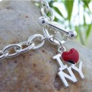 HOT I LOVE NY NEW YORK CITY HEART LOVE CHARM BRACELET