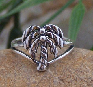 NEW 925 STERLING SILVER TROPICAL PALM TREE TOE RING