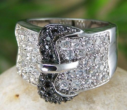 NEW CLEAR WESTERN COWGIRL BELT BUCKLE CZ RING SIZE 6