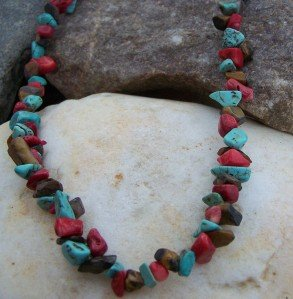 NEW MULTI WESTERN NATURAL STONE NUGGET NECKLACE SET