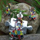 NEW AUTISM AWARENESS RIBBON PUZZLE NECKLACE PENDANT SET