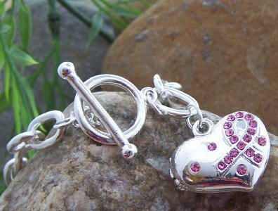 NEW PINK RIBBON BREAST CANCER HEART 16 CRYSTAL BRACELET