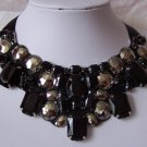 BLACK GRAY GREY BIB STATEMENT RHINESTONE METAL NECKLACE